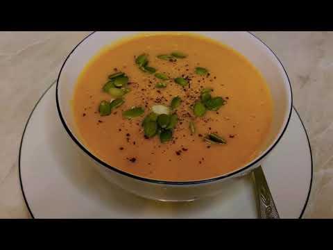 Сливочный тыквенный крем-суп. Рецепт очень простой и вкусный, и займёт достойное место в Вашем меню.