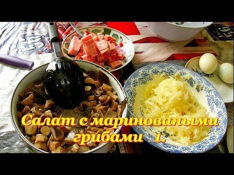 Салат с маринованными грибами 1. Видео рецепты от Борисовны   1.