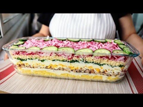УДИВИЛА МУЖА рецептом слоеного салата с редиской! Сочный, красивый, салат с курицей