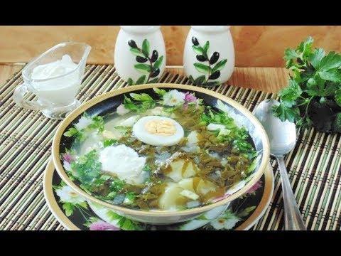 Холодный щавелевый суп с огурцом и сметаной