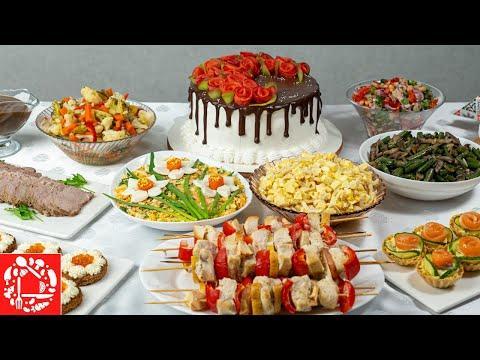 Самое Красивое Меню на 8 марта! Праздничный стол из 10 блюд. Салаты, Закуски, Горячее и Торт!