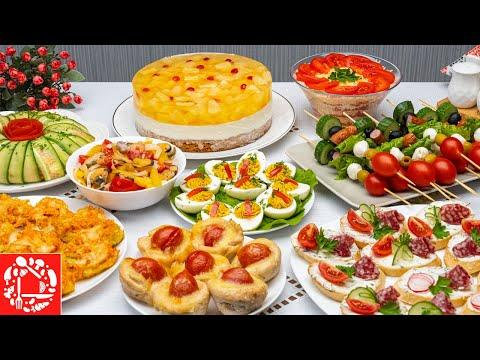 МЕНЮ на День Рождения. Готовлю 9 блюд. Рецепты на ПРАЗДНИЧНЫЙ СТОЛ: Торт, Салат, Закуски