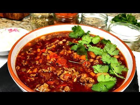Чили Кон Карне рецепт. Мексиканское блюдо из фасоли и фарша. Супы рецепты. Вкусный суп из говядины.