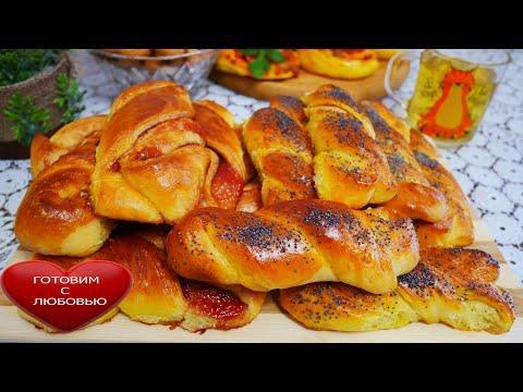 Булочки домашние с красной смородиной (джемом)вкусные булочки с ягодами в духовке