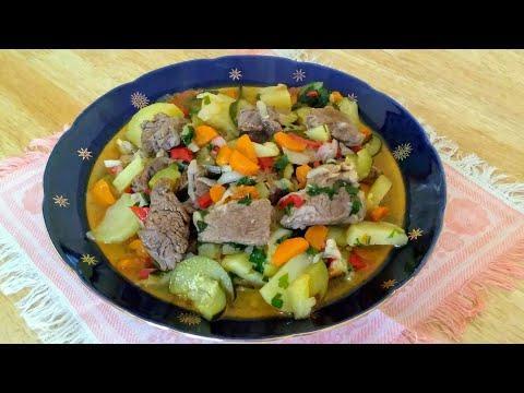 Мясо с овощами. Мясо с картошкой и кабачками. Очень вкусное блюдо на каждый день!