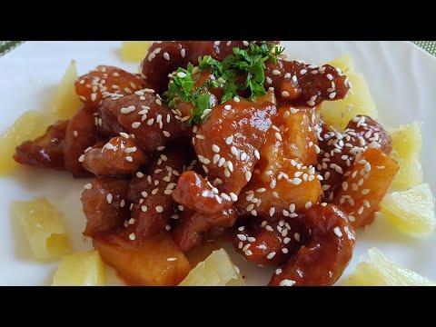 Мясо с ананасом в кисло сладком соусе|Очень вкусно советуем приготовить|