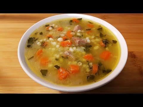 Супы рецепты, перловая крупа и тушенка из говядины. Вкусный суп с консервированной говядиной.