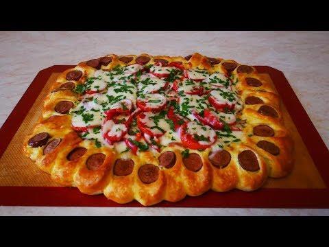 Пирог с курицей и сосисками АЛЬТЕРНАТИВА пиццы ПРОСТОЙ рецепт быстро сытно и вкусно домашняя выпечка