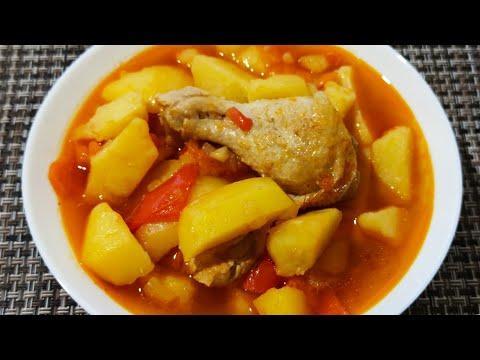 жаркое из курицы, тушёная картошка с мясом!Вкусное блюдо рецепт приготовления