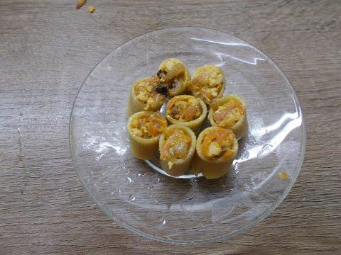 Макароны фаршированные мясом и овощами.