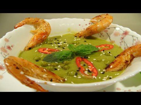 Суп пюре из зеленого горошка с мятой и креветками